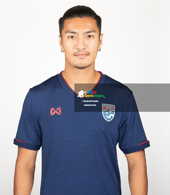 THAILAND - MARCH 18: Adison Promrat of Thailand National Football Team Photoshoot on March 18, 2019.<br /> .<br /> .<br /> .<br /> (Photo by: Naratip Golf Srisupab/SEALs Sports Images/MB Media Solutions)