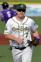28 May 2017: Aaron Dudley during a Frontier League Baseball game between the Lake Erie Crushers and the Normal CornBelters at Corn Crib Stadium on the campus of Heartland Community College in Normal Illinois