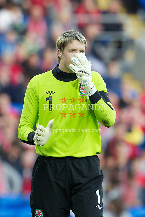 CARDIFF, WALES - Saturday, November 12, 2011: Wales' goalkeeper Wayne Hennessey in action against Norway during the international friendly match at the Cardiff City Stadium. (Pic by Vegard Grott/Propaganda)