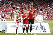 Manchester United 08 XI Michael Carrick with his son and daughter during the Michael Carrick Testimonial Match between Manchester United 2008 XI and Michael Carrick All-Star XI at Old Trafford, Manchester, England on 4 June 2017. Photo by Phil Duncan.