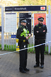 © Licensed to London News Pictures.07/11/2017.<br /> KNOCKHOLT, UK.<br /> A Murder investigation has been launched by British Transport Police after a man died at Knockholt Train Station in Kent . Police were called to the train station on Monday(6th) morning just after midnight following reports from a train driver. Officers believe the victim was chased onto the tracks. Forensic crime scene officers are at the station today.<br /> Photo credit: Grant Falvey/LNP