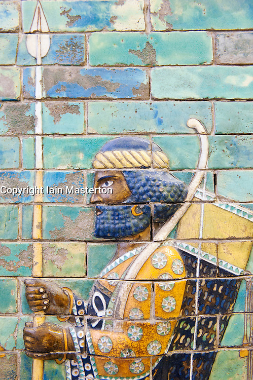Coloured tiles showing Royal bodyguard from Palace of Darrius I  at Pergamon Museum in Berlin Germany