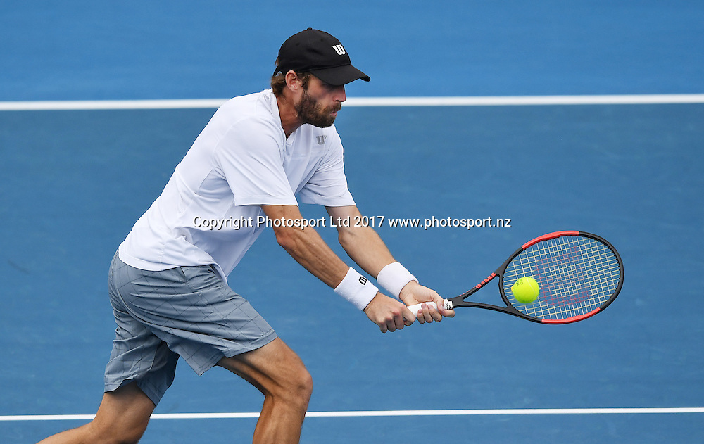 France's Stephane Robert during his first round singles match at the ASB Classic. ATP Mens Tennis Tournament. ASB Tennis Centre, Auckland, New Zealand. Monday 9 January 2017. © Copyright photo: Andrew Cornaga / www.photosport.nz