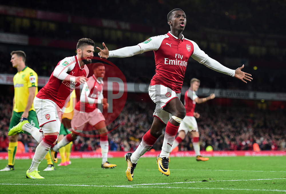 Edward Nketiah of Arsenal celebrates.- Mandatory by-line: Alex James/JMP - 24/10/2017 - FOOTBALL - Emirates Stadium - London, England - Arsenal v Norwich City - Carabao Cup