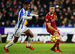 Jordan Henderson of Liverpool and Steve Mounie of Huddersfield Town - Mandatory by-line: Matt McNulty/JMP - 30/01/2018 - FOOTBALL - John Smith's Stadium - Huddersfield, England - Huddersfield Town v Liverpool - Premier League