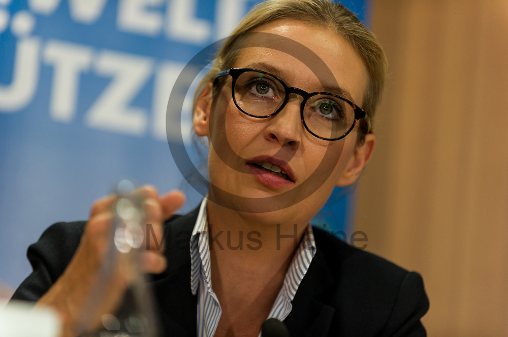 Deutschland, Berlin - 04.09.2017<br /> <br /> Die Spitzenkandidatin der AfD Alice Weidel spricht w&auml;hrend der Pressekonferenz. Die AfD (Alternative f&uuml;r Deutschland) stellt auf der Pressekonferenz unter dem Thema &quot;Irrweg beenden - Umwelt sch&uuml;tzen&quot; ihr Konzept f&uuml;r die Energiewende und Diesel vor.<br /> <br /> Germany, Berlin - 04.09.2017<br /> <br /> The top candidate of the AfD Alice Weidel speaks during the press conference. The AfD (alternative for Germany) will be presenting its concept for the power generation and diesel engines at the press conference entitled &quot;Ending Irrigation - Protecting the Environment&quot;.<br /> <br />  Foto: Markus Heine<br /> <br /> ------------------------------<br /> <br /> Ver&ouml;ffentlichung nur mit Fotografennennung, sowie gegen Honorar und Belegexemplar.<br /> <br /> Bankverbindung:<br /> IBAN: DE65660908000004437497<br /> BIC CODE: GENODE61BBB<br /> Badische Beamten Bank Karlsruhe<br /> <br /> USt-IdNr: DE291853306<br /> <br /> Please note:<br /> All rights reserved! Don't publish without copyright!<br /> <br /> Stand: 09.2017<br /> <br /> ------------------------------