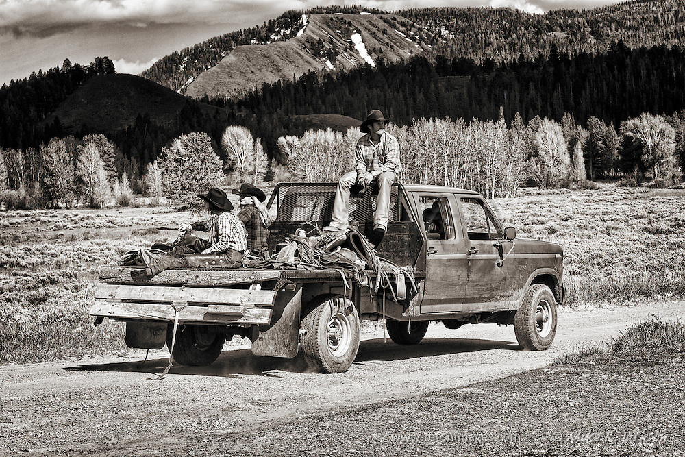 Wranglers and gear heading back to the bunk house after a day on the trail in Grand Teton National Park in historic Jackson Hole, WY