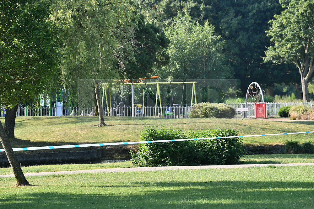 © Licensed to London News Pictures. 05/07/2018. Salisbury, UK. Police tape around a child's play area in Queen Elizabeth Gardens in Salisbury, Wiltshire an area visited by two people who are in critical condition after being exposed to the Novichok nerve agent. Dawn Sturgess, 44, and Charlie Rowley, 45 hav been confirmed as having come in to contact with the deadly agent after samples were sent to the MoD's Porton Down laboratory. Former Russian spy Sergei Skripal and his daughter Yulia were poisoned with Novichok nerve agent in nearby Salisbury in March 2018 causing diplomatic tentions between Russia and the UK. Photo credit: Ben Cawthra/LNP