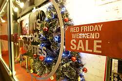 LIVERPOOL, ENGLAND - Thursday, November 26, 2015: Instead of Black Friday Liverpool FC's club shop promotes a Red Friday sale at Anfield ahead of the UEFA Europa League Group Stage Group B match between Liverpool and FC Girondins de Bordeaux. (Pic by David Rawcliffe/Propaganda)