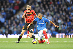 Kevin-Prince Boateng of Portsmouth tussles with Darren Fletcher of Manchester United. Portsmouth v Manchester United (1-4), Barclays Premier League Fratton Park, Portsmouth, 28th November 2009.