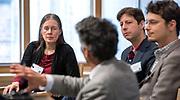 Photography &copy;Mara Lavitt<br /> New Haven, CT<br /> December 1, 2017<br /> <br /> Yale Day of Data 2017 at Kroon Hall. Participants from left Holly Rushmeier, professor, Yale Dept. of Computer Science; moderator Kiran Keshav; Yale professor Elihu Rubin; Mark Abraham.