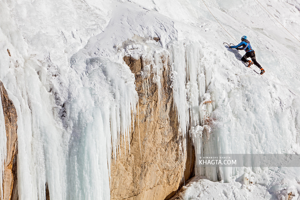A team of mountaineers, Bharat, Prerna and Karn practice ice climbing on a frozen waterfall in Spiti valley of Himachal