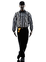 american football referee gestures tripping in silhouette on white background