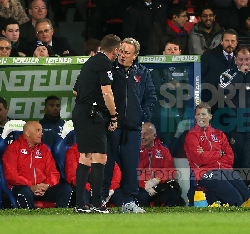 Crystal Palace's Neil Warnock has words with referee Phil Dowd<br /> <br /> - Barclays Premier League - Crystal Palace vs Sunderland- Selhurst Park - London - England - 3rd November 2014  - Picture David Klein/Sportimage