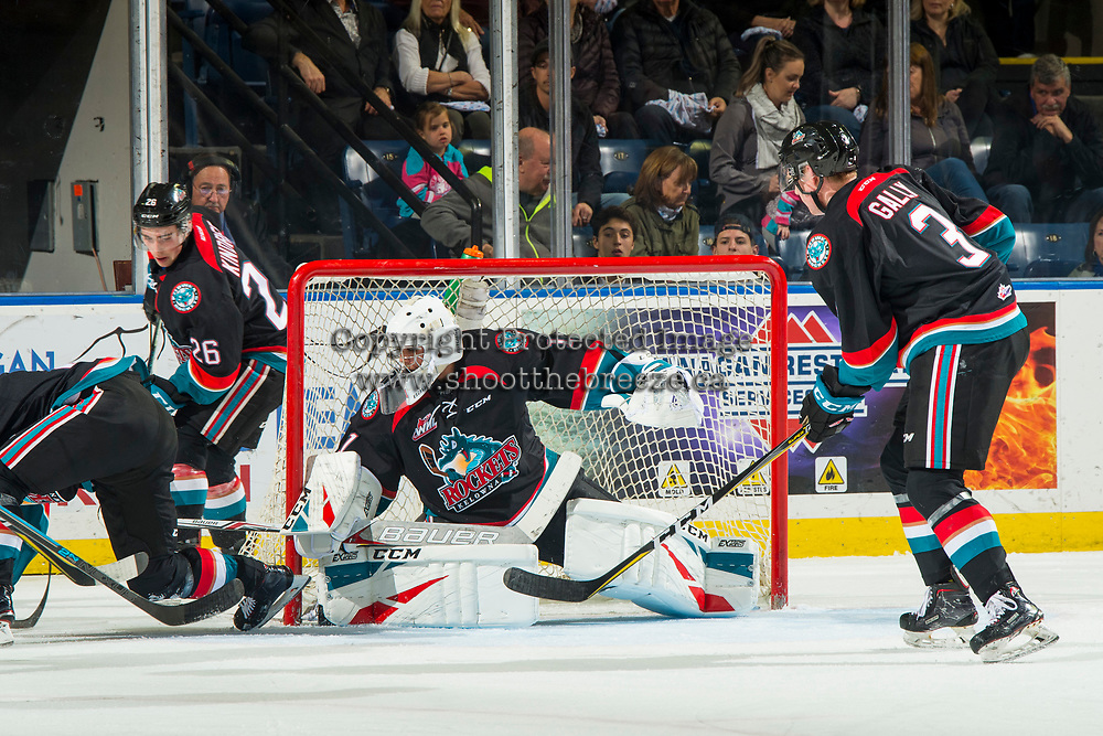 KELOWNA, CANADA - OCTOBER 23:  James Porter #1 of the Kelowna Rockets defends the net against the Swift Current Broncos on October 23, 2018 at Prospera Place in Kelowna, British Columbia, Canada.  (Photo by Marissa Baecker/Shoot the Breeze)