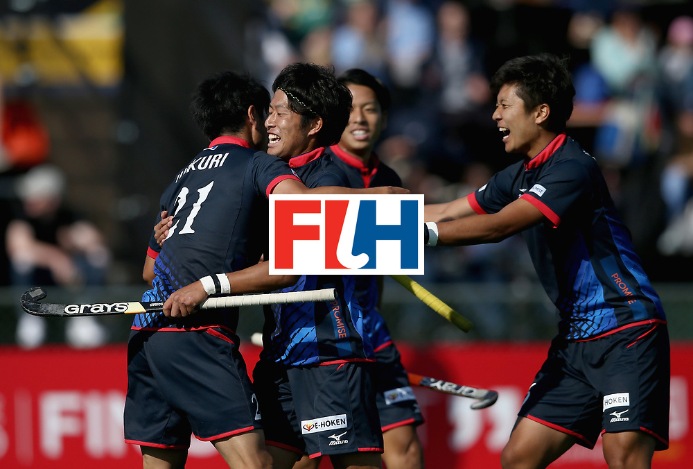 JOHANNESBURG, SOUTH AFRICA - JULY 13:  Hirotaka Wakuri of Japan (L) celebrates scoring their teams first goal with teammates during day 3 of the FIH Hockey World League Semi Finals Pool A match between Japan and France at Wits University on July 13, 2017 in Johannesburg, South Africa.  (Photo by Jan Kruger/Getty Images for FIH)