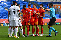 Football - 2020 / 2021 UEFA Nations League - Group B4 - Wales vs Bulgaria<br />      <br /> referee Mr F Veríssimoprior to a wales corner <br /> in a match played with no crowd due to Covid 19 coronavirus emergency regulations, in an almost empty ground, at the Cardiff City Stadium.<br /> <br /> COLORSPORT/WINSTON BYNORTH