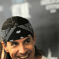 Anthony Kiedis of the Red Hot Chili Peppers curator of the firstNew American Music Union in Pittsburgh, PA, smiles as he fields questions at a press conference for the 2 day event.