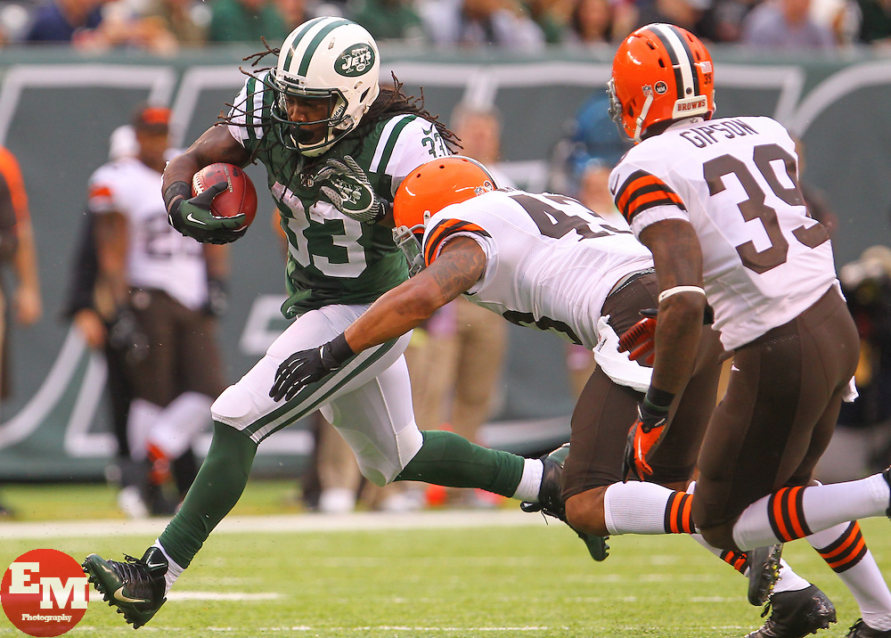 Dec 22, 2013; East Rutherford, NJ, USA; New York Jets running back Chris Ivory (33) runs with the ball during the first half of their game against the Cleveland Browns at MetLife Stadium.