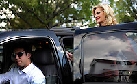 SIMPSONVILLE, SC:  Ann Romney, wife of republican candidate for president, Mitt Romney, says goodbye to supporters and friends outside the City Hall in Simpsonville, South Carolina, Thursday, September 29, 2011. (Photo by Melina Mara/The Washington Post) . ...