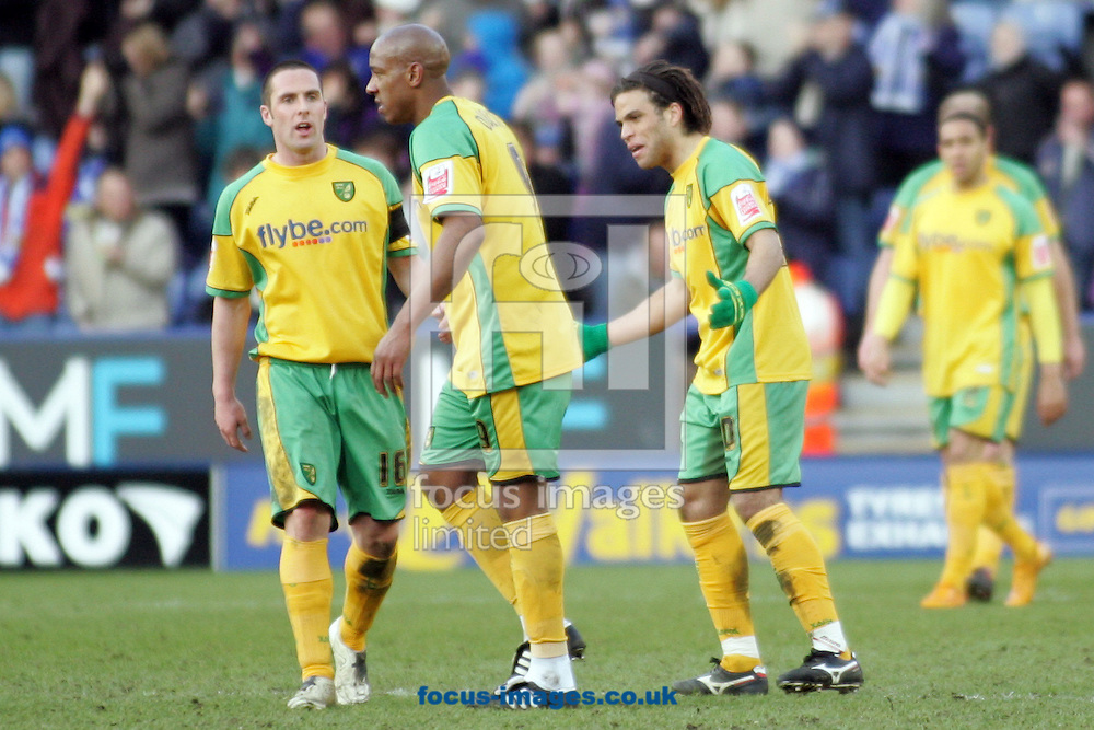 Leicester - Saturday, February 16th, 2008: Norwich City's Mark Fotheringham. Dion Dublin and Darel Russel look dejected after Leciester's second goal during the Coca Cola Championship match at the Walkers Stadium, Leicester. (Pic by Mark Chapman/Focus Images)
