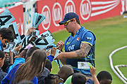 Matt Coles (Kent) signs autographs during the Royal London 1 Day Cup match between Surrey County Cricket Club and Kent County Cricket Club at the Kia Oval, Kennington, United Kingdom on 12 May 2017. Photo by Jon Bromley.