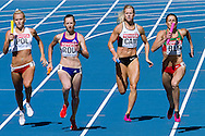 (L) Justyna Swiety from Poland competes in women's relay 4x400 meters qualification during the 14th IAAF World Athletics Championships at the Luzhniki stadium in Moscow on August 16, 2013.<br /> <br /> Russian Federation, Moscow, August 16, 2013<br /> <br /> Picture also available in RAW (NEF) or TIFF format on special request.<br /> <br /> For editorial use only. Any commercial or promotional use requires permission.<br /> <br /> Mandatory credit:<br /> Photo by © Adam Nurkiewicz / Mediasport