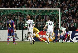 Lionel Messi scores the winner. Celtic v Barcelona, Uefa Champions League, Knockout phase, Celtic Park, Glasgow, Scotland. 20th February 2008.