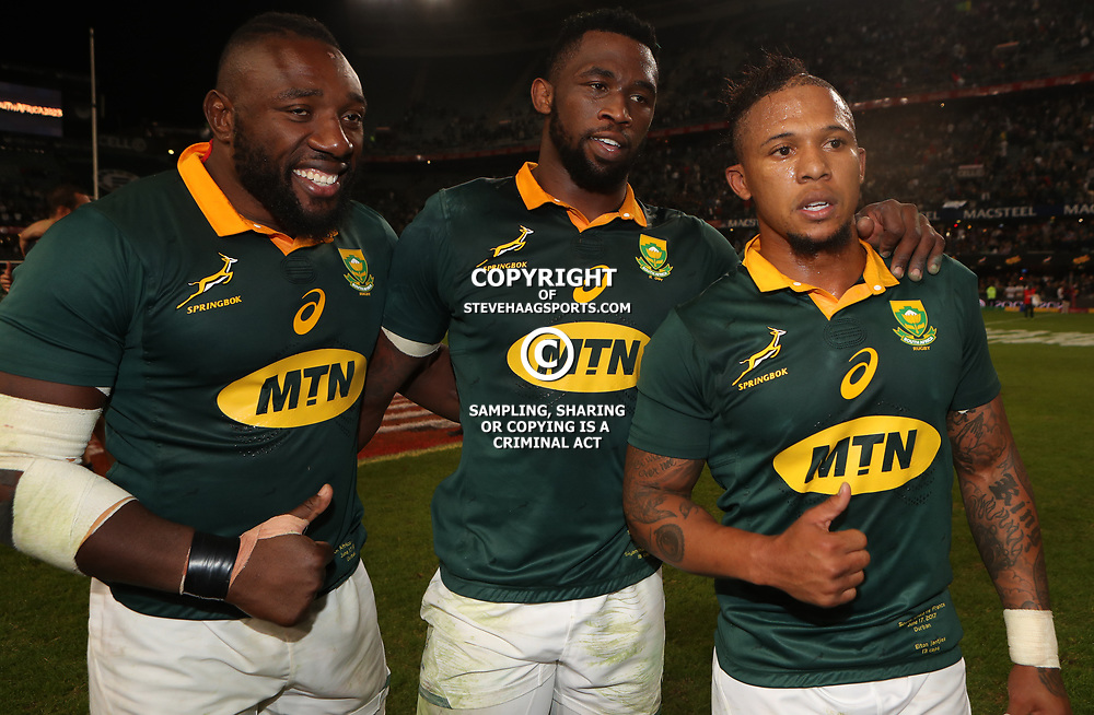Tendai Mtawarira with Siya Kolisi and Elton Jantjies of South Africa during the 2nd Castle Lager Incoming Series Test match between South Africa and France at Growthpoint Kings Park on June 17, 2017 in Durban, South Africa. (Photo by Steve Haag Sports)