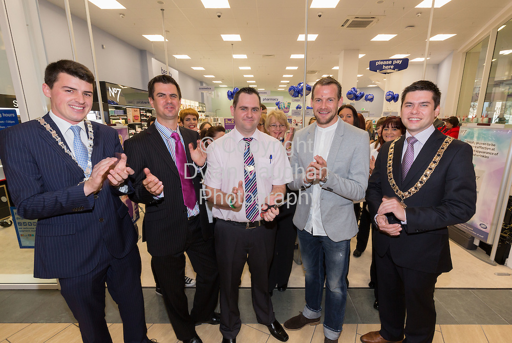Repro free No Charge for Repro<br /> 1-10-14<br /> <br />  <br /> Pictured at the official opening of the new Boots store at Mac Donagh Junction Shopping Centre in Kilkenny on the 1st of October was  from left Cllr. Patrick McKee Leas Cathaoirleach, Richard Bradley Managing Director, Boots Ireland, Store Manger John Paul Walsh, All Ireland Kilkenny hurler Jackie Tyrrell and Mayor of Kilkenny Cllr. Andrew McGuinness.<br /> <br /> <br /> <br /> <br /> Picture Dylan Vaughan