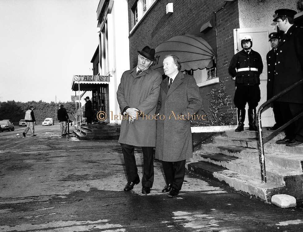 An Taoiseach Charles Haughey pays a visit to the site of the Stardust nightclub tragedy in Artane, north Dublin. Forty-eight young people died and 214 were injured when the nightclub was engulfed in flames. It was widely reported that fire exits were chained shut, trapping victims inside the blaze.<br />