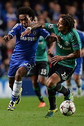 06.11.2013, Stamford Bridge, London, ENG, UEFA CL, FC Chelsea vs FC Schalke 04, Gruppe E, im Bild Chelsea's Willian is fouled by Schalke's Jermaine Jones // Chelsea's Willian is fouled by Schalke's Jermaine Jones during UEFA Champions League group E match between FC Chelsea and FC Schalke 04 at the Stamford Bridge in London, Great Britain on 2013/11/06. EXPA Pictures © 2013, PhotoCredit: EXPA/ Mitchell Gunn<br /> <br /> *****ATTENTION - OUT of GBR*****