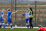 Charlotte Owen celebrates her goal during the FA Women's Premier League match between Brighton Ladies and Cardiff City Ladies at Brighton's Training Ground, Lancing, United Kingdom on 22 March 2015. Photo by Geoff Penn.