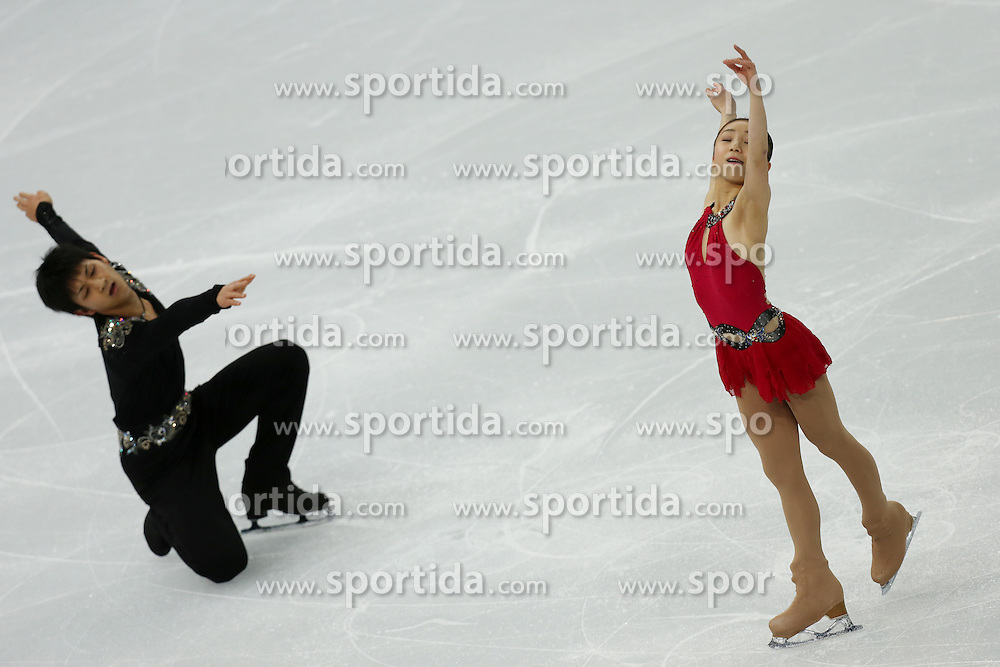 The XXII Winter Olympic Games 2014 in Sotchi, Olympics, Olympische Winterspiele Sotschi 2014, Figure Skating, Pairs Short Program,<br /> Japan's Narumi Takahashi and Ryuichi Kihara  *** Local Caption ***