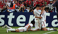 Photo: Paul Thomas.<br /> AC Milan v Liverpool. UEFA Champions League Final. 23/05/2007.<br /> <br /> Filippo Inzaghi (9) of Milano celebrates with Kaka (R).