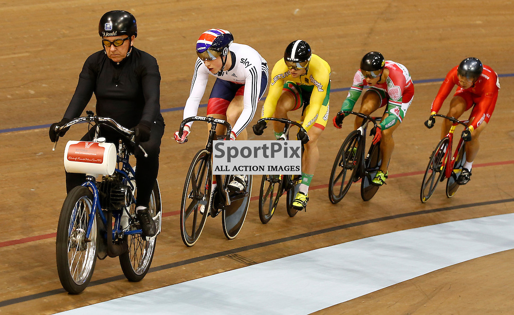 UCI Track Cycling World Cup Glasgow 4th - 6th November 2016.Joe Trueman in the Men's Keirin First Round Repechage....(c) STEPHEN LAWSON | SportPix.org.uk
