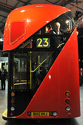 ©London News pictures...11/11/2010. Boris Johnson inspect the interior of the replica. Boris Johnson, London's Mayor, unveils a life size mock up of a new bus for London, today (11/11/10). The mock up gives Londoners the first glimpse of how the bus will look when it is put into service in 2012