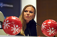 Warsaw, Poland - 2017 May 18: Karolina Hytrek-Prosiecka press officer of Ekstraklasa SA speaks during press conference while the annual Special Olympics European Football Week at Legia Warsaw on May 18, 2017 in Warsaw, Poland.<br /> <br /> Adam Nurkiewicz declares that he has no rights to the image of people at the photographs of his authorship.<br /> <br /> Picture also available in RAW (NEF) or TIFF format on special request.<br /> <br /> Any editorial, commercial or promotional use requires written permission from the author of image.<br /> <br /> Image can be used in the press when the method of use and the signature does not hurt people on the picture.<br /> <br /> Mandatory credit:<br /> Photo by © Adam Nurkiewicz / Mediasport