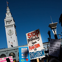 SAN FRANCISCO, CA - JANUARY 20, 2018: Demonstrators rally at the Embarcadero after the Women's March in San Francisco, California on January 20, 2018. (Photo by Philip Pacheco)