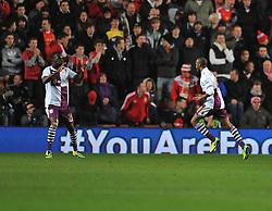 Aston Villa's Fabian Delph celebrates after scoring with Aston Villa's Christian Benteke - Photo mandatory by-line: Alex James/JMP - Tel: Mobile: 07966 386802 04/12/2013 - SPORT - Football - Southampton - St Mary's Stadium - Southampton v Aston Villa - Barclays Premier League
