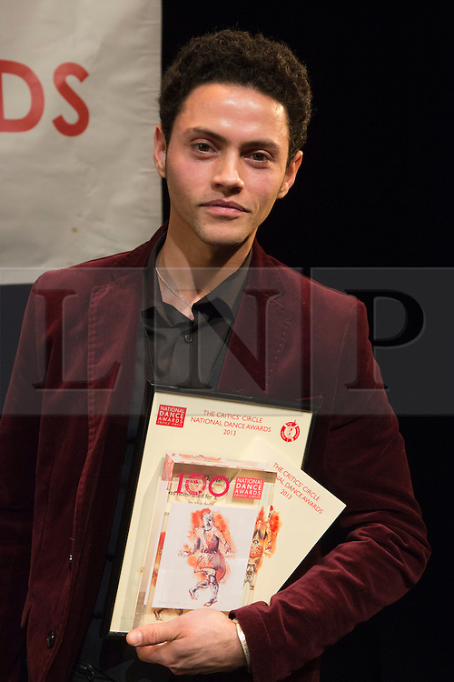 """© Licensed to London News Pictures. 27 January 2014. London, England. Pictured: Dane Hurst of Rambert Dance Company, Winner of the Dancing Times Award for Best Male Dancer. The Critics' Circle National Dance Awards 2013 take place at """"The Place"""" in London. Photo credit: Bettina Strenske/LNP"""