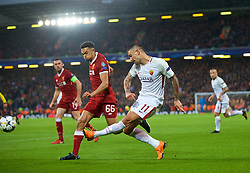 LIVERPOOL, ENGLAND - Tuesday, April 24, 2018: Liverpool's Trent Alexander-Arnold (left) and AS Roma's Aleksandar Kolarov during the UEFA Champions League Semi-Final 1st Leg match between Liverpool FC and AS Roma at Anfield. (Pic by David Rawcliffe/Propaganda)