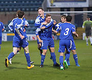 James Tracey is congratulated after scoring St James' extra time winner - St James (blue) v NCR (white) North of Tay Cup (sponsored by Evening Telegraph) Cup Final at Dens Park <br /> <br />  - &copy; David Young - www.davidyoungphoto.co.uk - email: davidyoungphoto@gmail.com