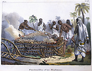 Brahmin funeral. Cremation on a funeral pyre.  Lithogaph from L'Inde Francaise', 1828