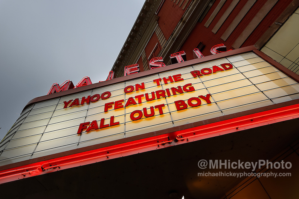 MADISON, WI - MAY 13: Fall Out Boy sign outside of Majestic Theatre during Yahoo! On The Road at Majestic Theatre on May 13, 2013 in Madison, Wisconsin. (Photo by Michael Hickey/WireImage)