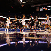 Kaleena Mosqueda-Lewis, UConn, shoots a three pointer  during the UConn Vs Cincinnati Quarterfinal Basketball game at the American Women's College Basketball Championships 2015 at Mohegan Sun Arena, Uncasville, Connecticut, USA. 7th March 2015. Photo Tim Clayton