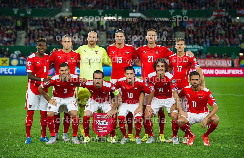 05.09.2015, Ernst Happel Stadion, Wien, AUT, UEFA Euro 2016 Qualifikation, Oesterreich vs Moldawien, Gruppe G, im Bild Nationalmannschaft (AUT) // Teamphoto Austria during the UEFA EURO 2016 qualifier group G match between Austria and Moldova at the Ernst Happel Stadion in Wien, Austria on 2015/09/05. EXPA Pictures © 2015, PhotoCredit: EXPA/ Michael Gruber