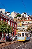 Portugal, Lisbonne, Portugal, quartier de Baixa pombalin, tramway // Portugal, Lisbon, tram in Bairro Alto