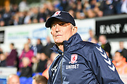 Middlesbrough Manager Tony Pulis ahead of the EFL Sky Bet Championship match between Ipswich Town and Middlesbrough at Portman Road, Ipswich, England on 2 October 2018.