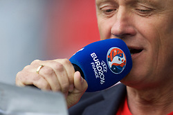 BORDEAUX, FRANCE - Monday, June 14, 2016: The stadium commentator speaks into a UEFA EURO 2016 branded microphone ahead of the Austria against Hungary match during the UEFA Euro 2016 Championship at Stade de Bordeaux. (Pic by Paul Greenwood/Propaganda)